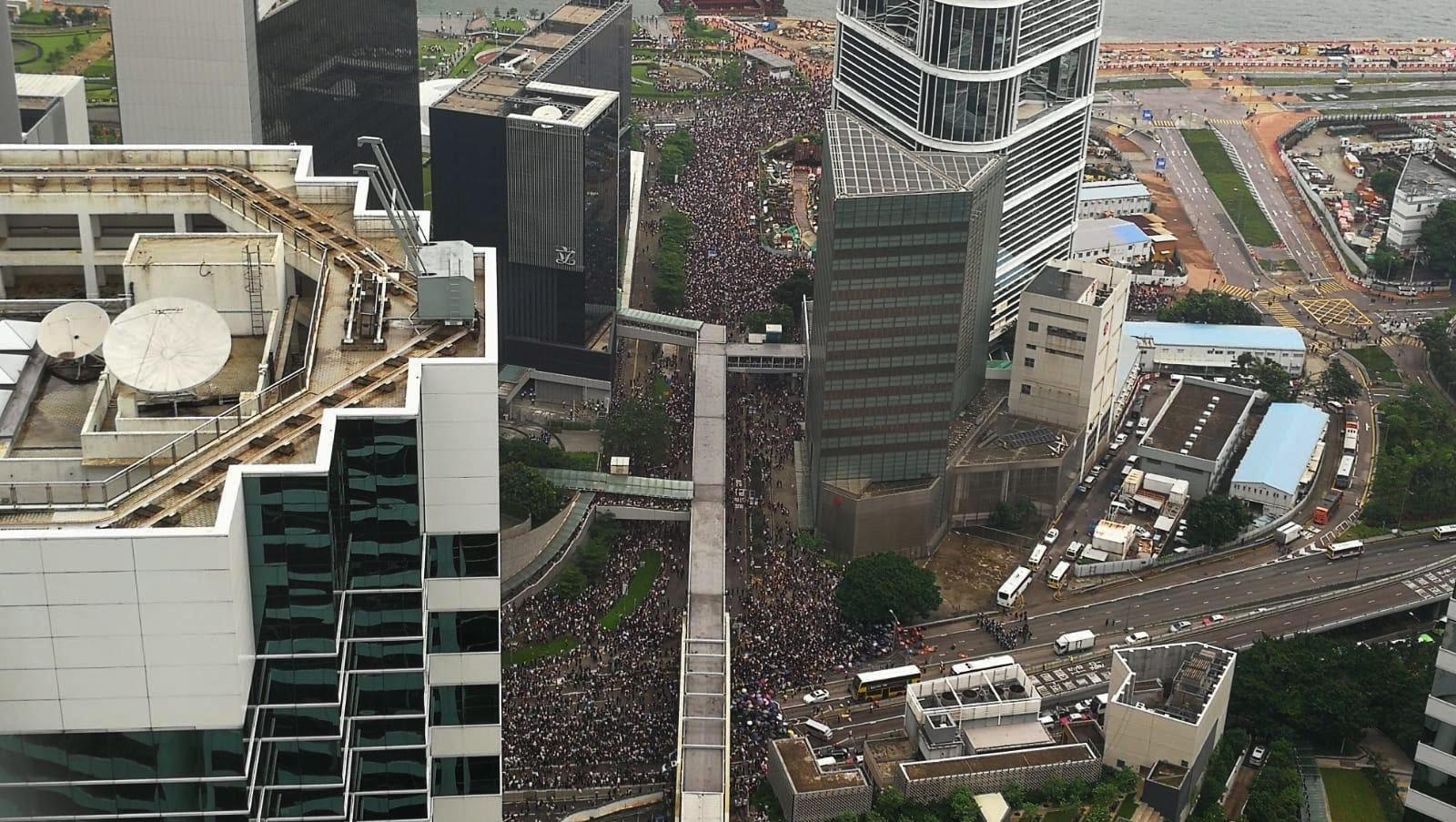 Demo Hongkong Vogelperspektive