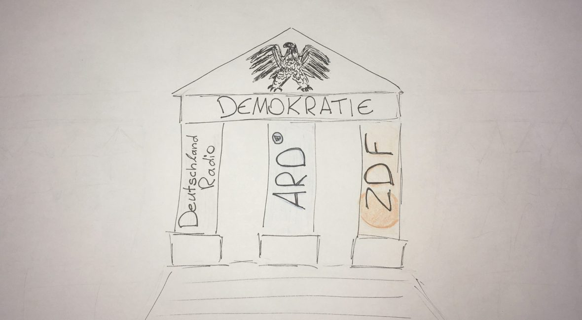 Demokratie die von den Säulen ARD, ZDF und Deutschlandradio getragen werden